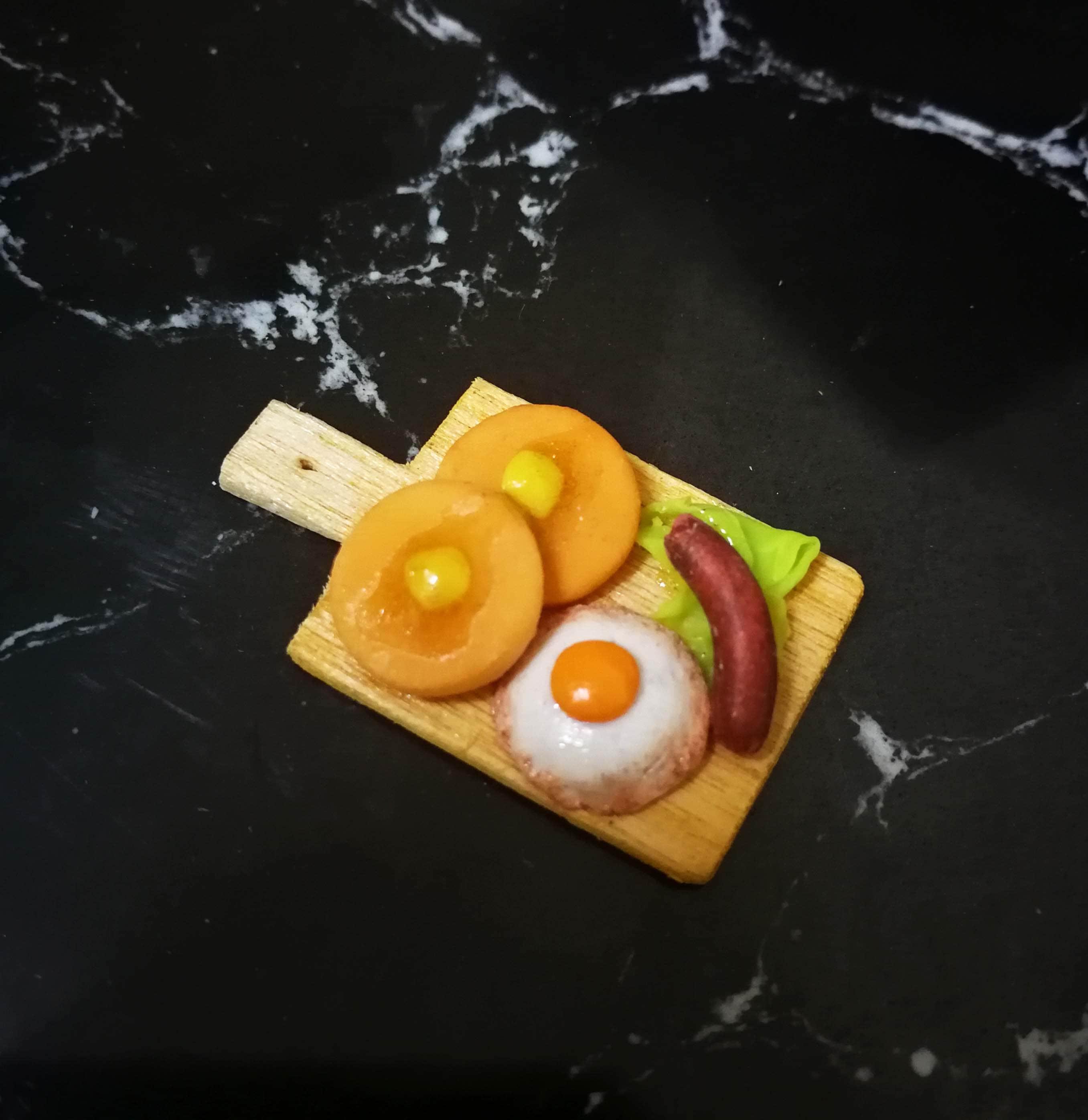 DOLLHOUSE MINIATURE FRYING PAN PANCAKE BREAKFAST FOOD