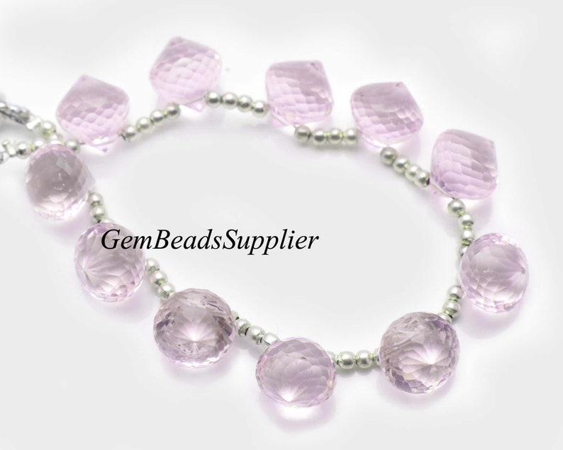 Rose Pink Color Hydro Quartz Gemstone Beads Light Pink Quartz Faceted Dew Onion Shape Briolette 10 Beads 10x10 MM Size