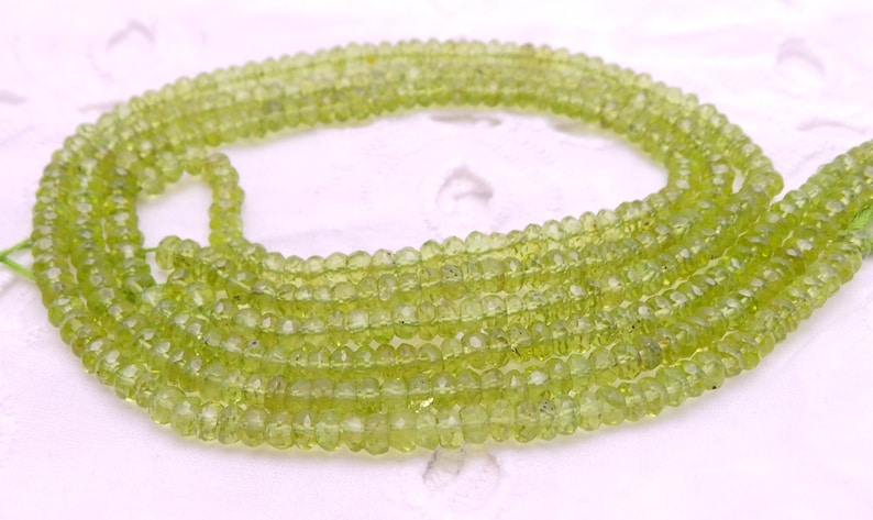Gemstone Supply Top Quality Natural Peridot 13 Inch Strand Faceted Beads Shape 4 MM Peridot Beads Jewellery Making