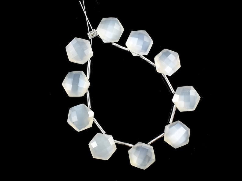 10 MM Size 10 Piece Briolette Natural White Ceylon Moonstone Faceted Star Shape Briolette Siloni Moonstone Beads Moonstone Gemstone