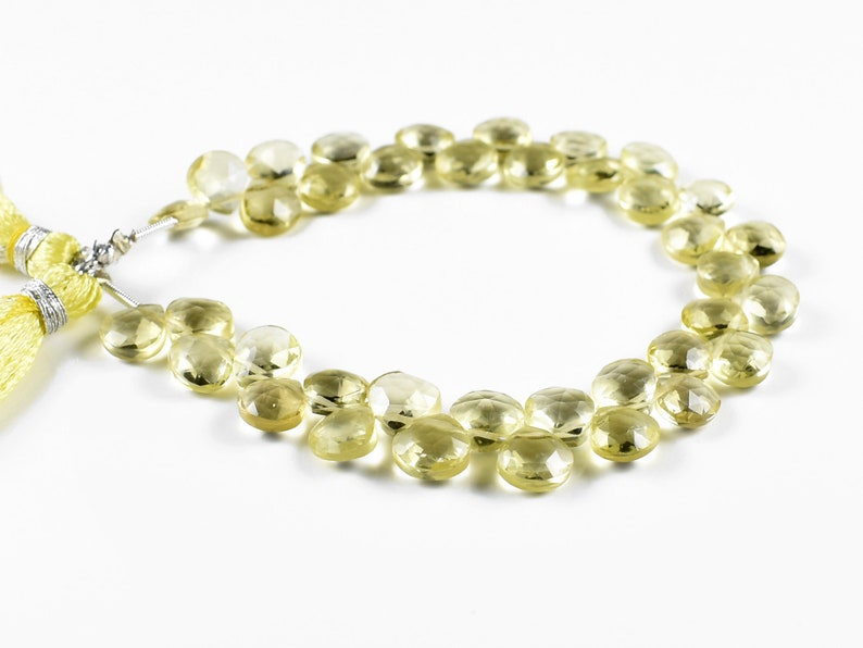 Lemon Quartz Gemstone 7-8 MM Size 7 Inch Strand Lemon Quartz Heart Shape Beads Natural Lemon Quartz Faceted Briolette Lemon Quartz Beads