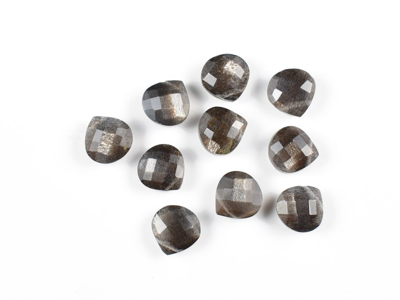 Natural Fire Black Moonstone Faceted Heart Shape Briolette Side Drilled 10 Piece AAA Black Moonstone Loose Beads Gemstone 8 MM Size,