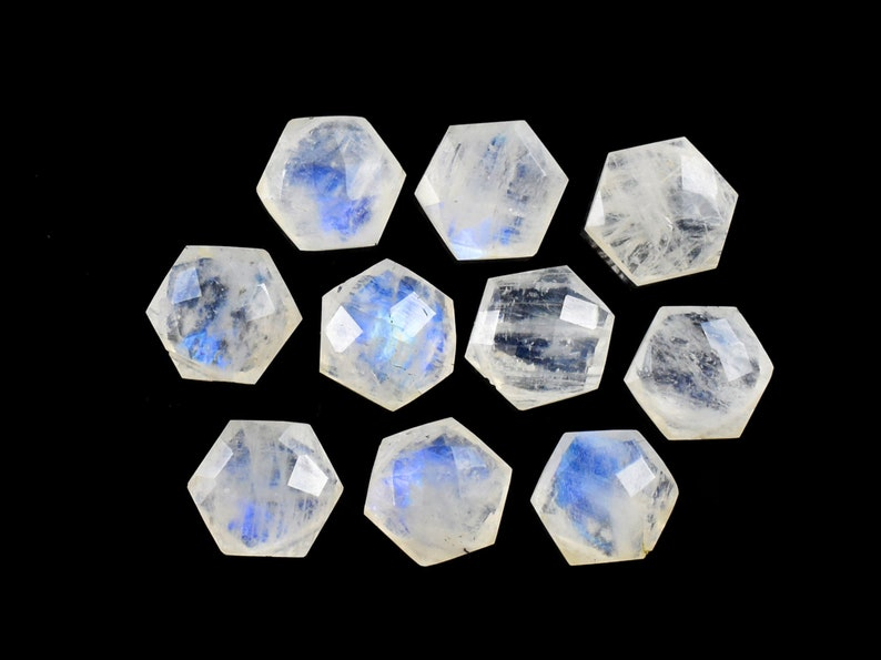 10 Piece 10 MM Side Drilled Blue Fire Rainbow Moonstone Loose Beads Gemstone Natural Rainbow Moonstone Faceted Star Shape Briolette
