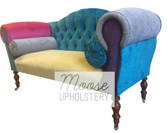 Patchwork Velvet Yellow Seat Double Ended Chaise Sofa ~FREE  DELIVERY~*Handmade In UK*