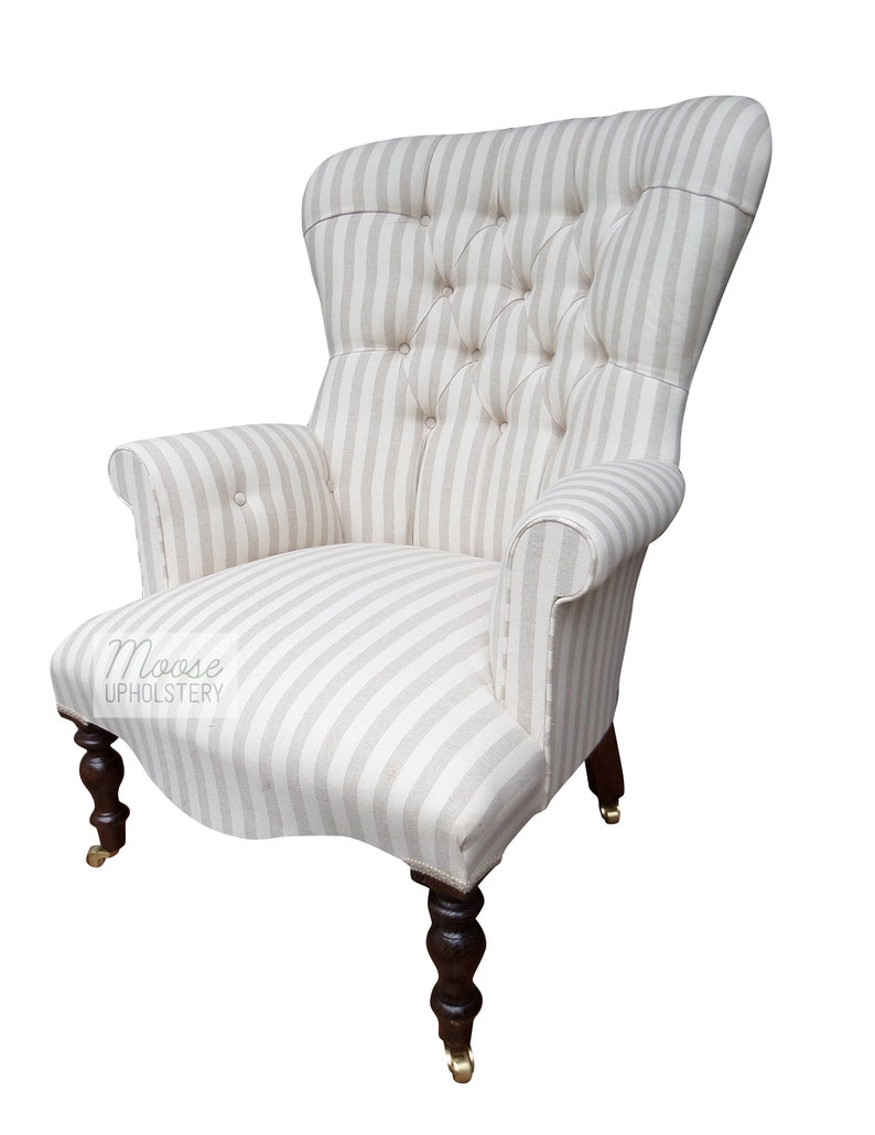 Admirable Pale Beige Cream Striped Chair Free Delivery Hand Made In Uk Home Interior And Landscaping Dextoversignezvosmurscom
