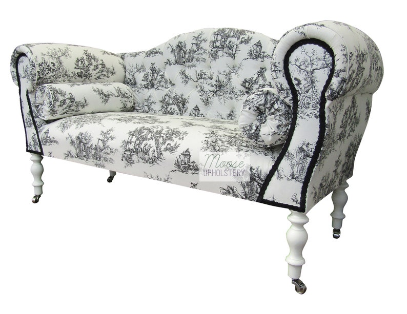 Miraculous Black Toile Double Ended Chaise Sofa Free Delivery Handmade In Uk Caraccident5 Cool Chair Designs And Ideas Caraccident5Info