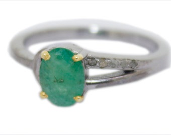 Fine Rings 925 Sterling Silver Antique Rose Cut Diamond Ring Victorian Vintage Emerald Ring