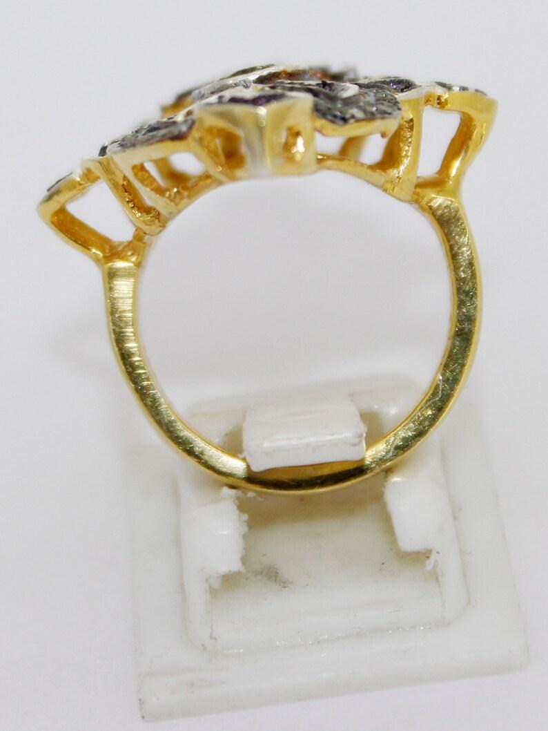 925 Sterling Silver Antique Rose Cut Polki Ring Natural Diamond Ring Vintage Style Ring Anniversary Ri.ng Victorian Ring KR/_322
