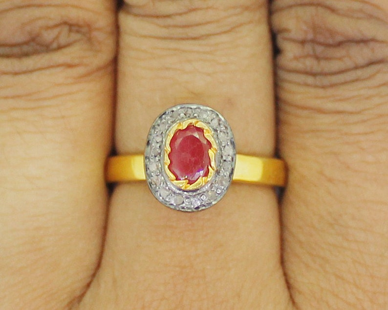 925 Sterling Silver Antique Rose Cut Polki Ring Diamond Ring Vintage Ring Anniversary Ring Victorian Style Ruby Ring KR/_275