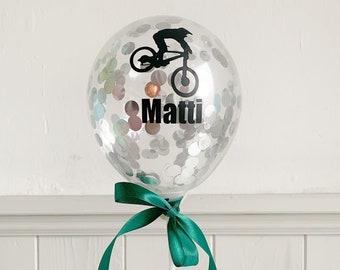Bicycle Topper, Balloon Cake Topper DIY, Birthday Cake Decoration, Names and Mountain Bike Stickers, Mini Gold Confetti Balloon, for Boys