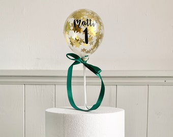 Name Cake Topper DIY, Gold Stars Confetti Balloon Personalized, Cake Decoration, Birthday Cake Decoration, First Birthday Young Cake Decor