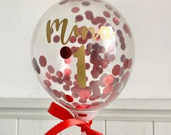 Names Cake Topper DIY, Red Confetti Mini Balloon Cake Decoration, Personalized Gold Sticker, Anniversary, JGA, Birthday Cake