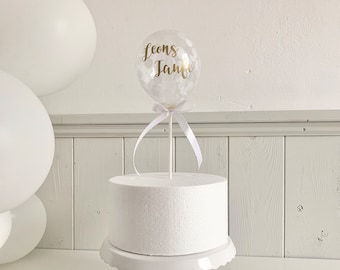Personalized Name Cake Topper for Baptism, White Confetti Tortendeko, Small Balloon Cake Topper with Name Sticker, Baby Cake Decoration