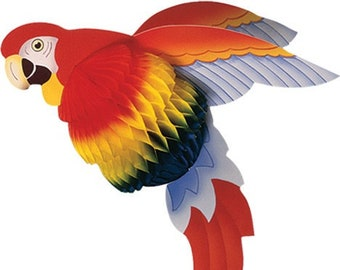Pirate Birthday, Parrot, Jungle Party, Honeycomb Paper Decoration
