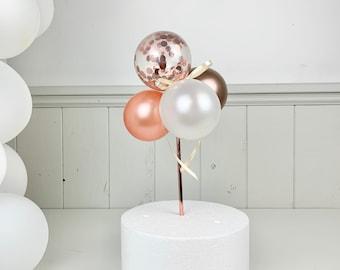 Rosegold Mini Balloon Cake Topper, Birthday Tortendeko, Cake Decoration