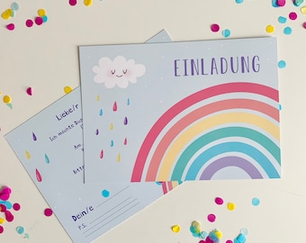 Children's Birthday Invitation Cards, Rainbow Birthday Invitations, Colorful Kids Party Invitations with Cloud and Drop