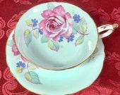 Beautiful Paragon Aqua blue double warrant cup and saucer