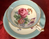 Paragon Turquoise green china cup and saucer with floral bouquet