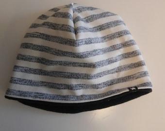 Set winter hat 53/55 scarf black stripes