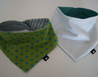 2 Baby/Child scarfs green - tourquise stars stripes dots