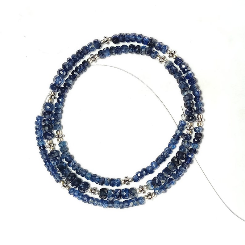 Excellent Quality KYANITE  beads with silver beads strings,excellent hand made cut semi precious stone.77 carat,20 inches,free shipping