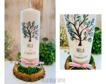 Baptismal Candle Communion Candle Confirmation Candle Tree Tree *Mia* Christian Symbols Dove Fish Cross Anchor Heart Tree of Life Old Pink Pink