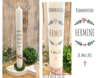 """Communion candle baptismal candle leaf branches """"Hermine"""" Christian symbols wreath leaves twigs dove fish cross green pink rustik 40/4 cm jute"""