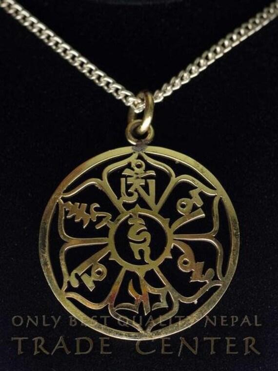 Lotus Flower Mantra AMULETT NEPALl Türkis Lapislazuli