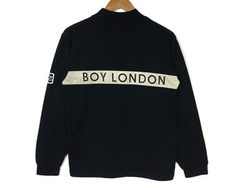 BOY LONDON Sweatshirt Boy London Crewneck Boy London Pullover Boy London  Jumper Black Colour Large size fit Medium Skateboarding Streetwear