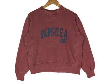 132aff97e7 Vintage VANS Sweatshirt Vans Big Logo Pullover Medium Size Maroon Jumper  Hip Hop Lo Life Skater Skateboarding Streetwear Clothing