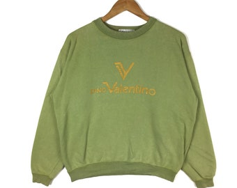 791091413887a9 Vintage DINO VALENTINO Sweatshirt Spellout Big Logo Green Colour Medium  Size Pullover Jumper