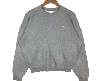 ce2530d5687c Vintage 90s Nike Sweatshirt Nike Swoosh Small Logo Women Embroidery  Pullover Grey Colour Crewneck Large Size Jumper Sportswear Clothing