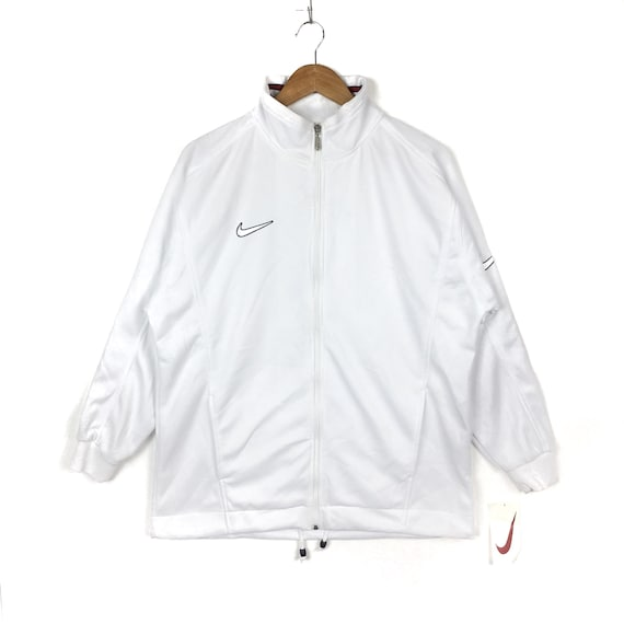 Vintage 90s Nike Zipper Sweater Nike Swoosh Small Logo Embroidery Pullover Jumper Nike Veste White Colour Large Size Sportswear Skater Gift