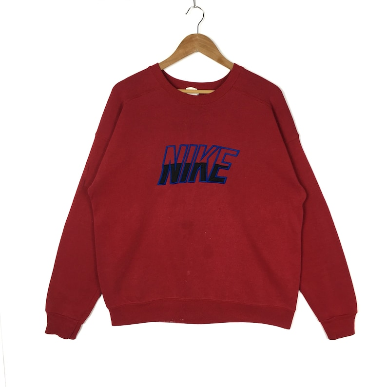 0d95e84458f0a Vintage 80s 90s Nike Grey Tag Sweatshirt Nike Big Logo Spellout Embroidery  Hip Hop Pullover Red Crewneck Large Size Jumper Sportswear Sports