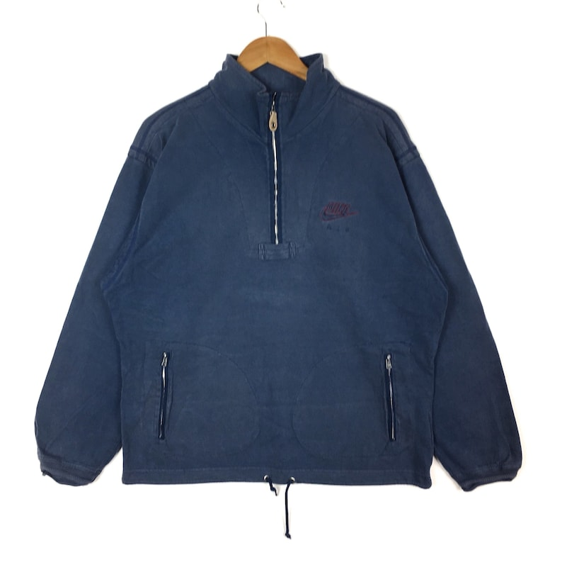 43c4f76e99760 Vintage 90s NIKE Air Half Zipper Sweatshirt Nike Swoosh Embroidery Faded  Blue Colour Medium Size Pullover Jumper Nike Crewneck Sweater