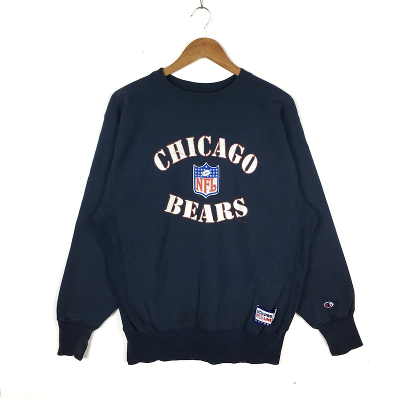 new concept 92259 2f7fb Vintage 90s Chicago Bears NFL Sweatshirt National Football League Pro Line  By Champion Reverse Weave Blue Colour Xlarge Size Pullover Jumper