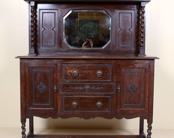 Dark Wood Mirrored Credenza : Carved sideboard etsy