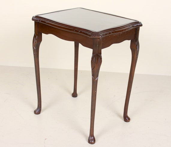 Antique Vintage Side Table Glass Flamed Mahogany Console Lamp Etsy
