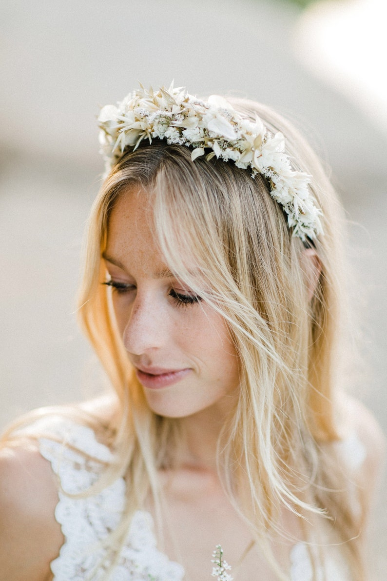 Tiara Brauttiara Haarschmuck Haarkranz in Weiß Haarreif image 0