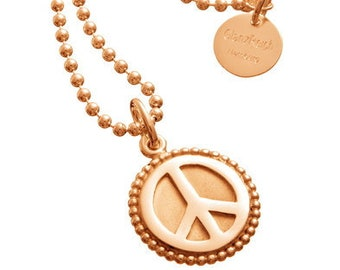 Peacependant rose gold on ball necklace, silver gold plated, engraving inclusive, Peace, peace, lucky charm, talisman, love, peace with engraving
