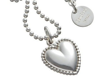 LORD of love with pearl edge and GRAVUR on ball necklace, 925 silver, name chain, necklace with heart, silver heart, glossy, monogram