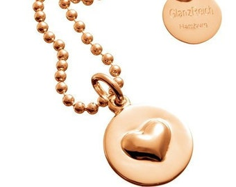 Heart pendant, 925 silver gold plated, individually engraved, with ball chain, heart with engraving, monograph, love, baptism, happiness, name chain,