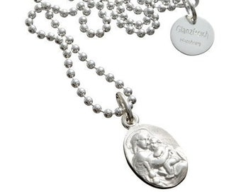Madonna with child, patron saint, pendant including engraving, holy Maria mother, 925 silver, with ball necklace, Madonna engraved, guardian angel