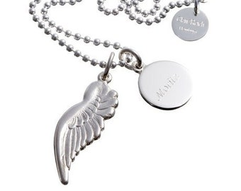 ENGELSFLÜGEL and NAMENSPLÄTTCHEN on ball chain, engraving customizable, 915 silver, guardian angel, name chain, family necklace, glossy