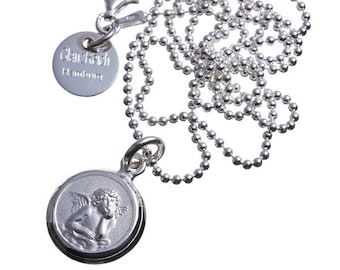 Guardian angel with personal engraving, 925 silver, with ball chain, Cupid, Angel, individual engraving, baptism chain, name chain, id necklace,