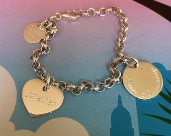 Silberarmband mit 2 Namensplättchen und Gravur, 925 Silber, Bettelarmband, Charmarmband, Namensarmband, Taufarmband, Geburtsgeschenk,
