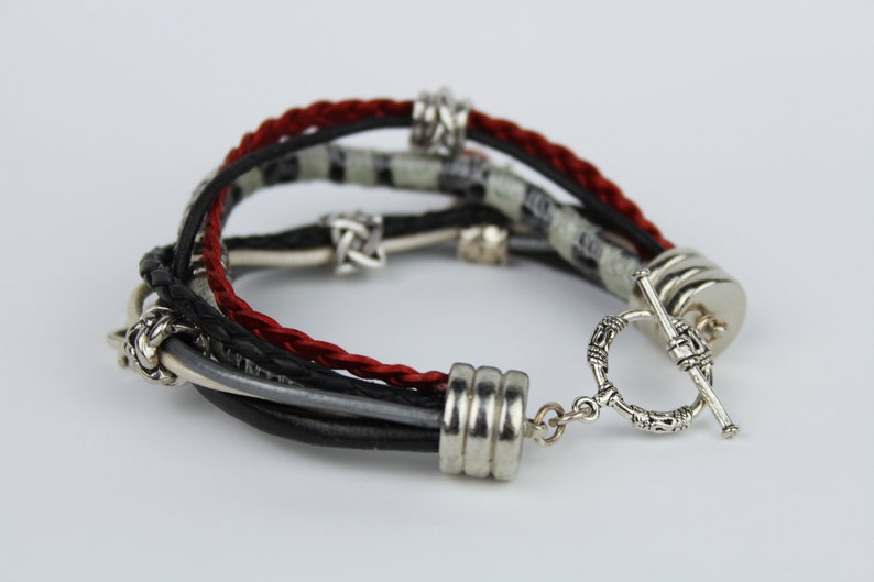 Multi-Strand Leather Bracelet with Natural Element Charms