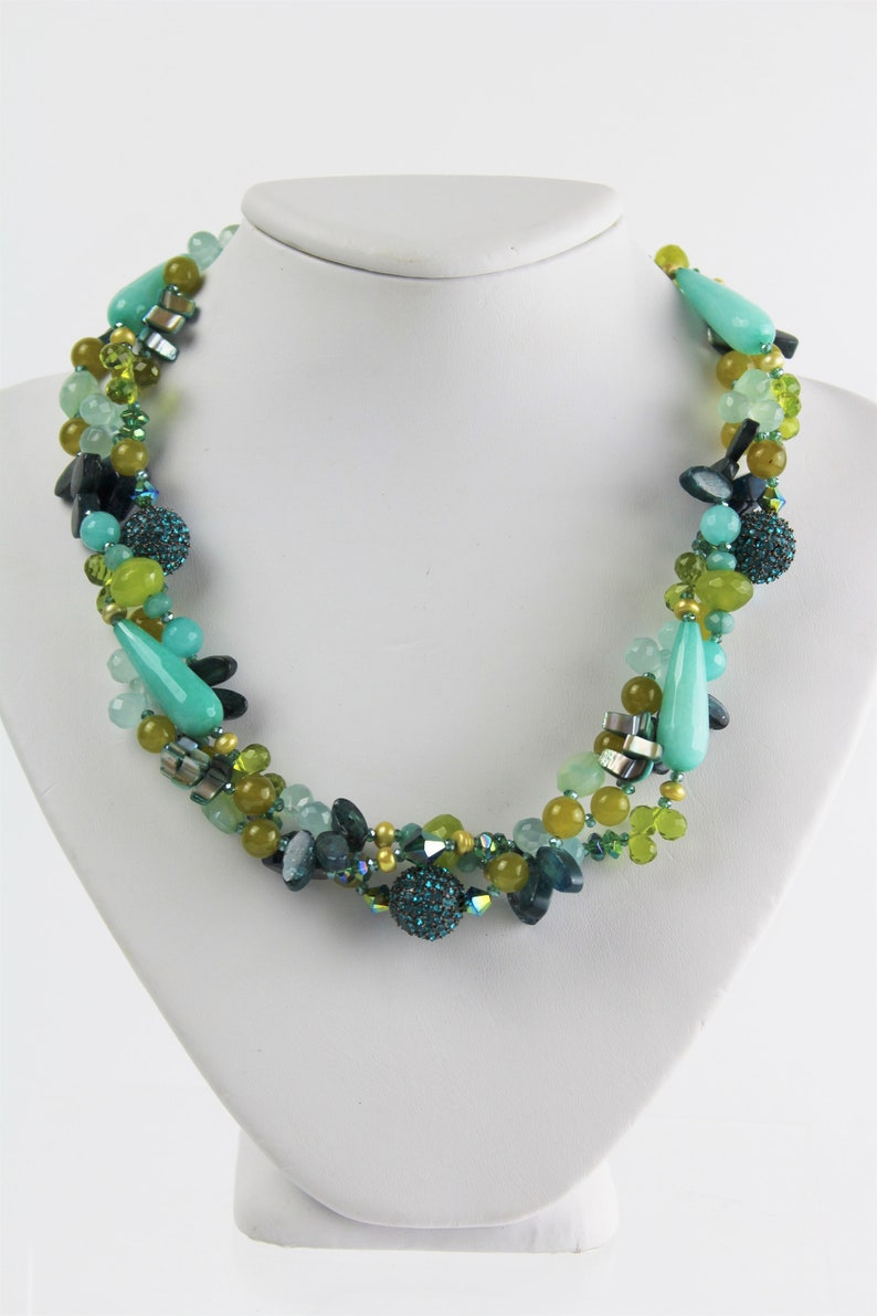 Blue and Green Gemstone Multi-Strand Necklace
