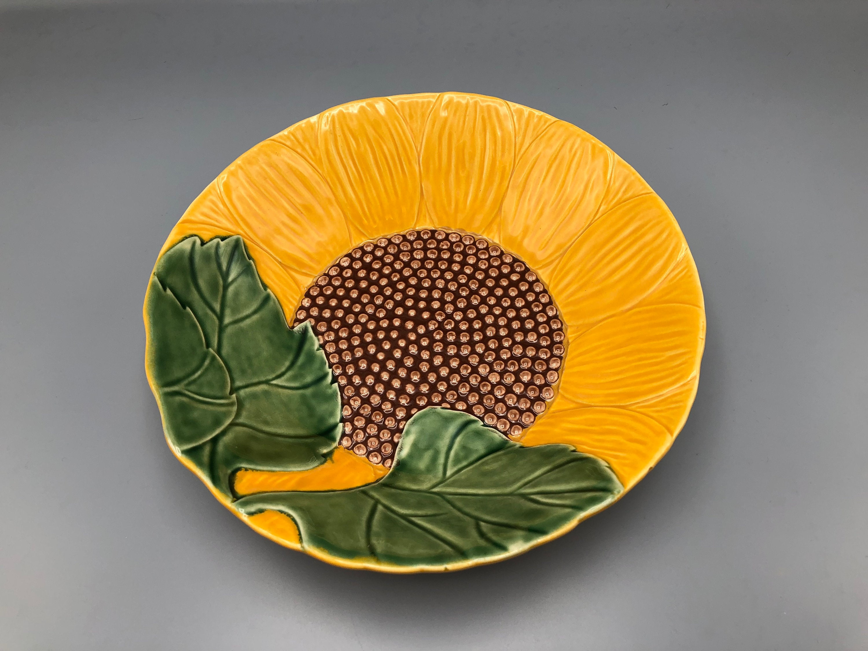 Vintage Majolica Sunflower Dish Bowl Ceramic Made In Portugal Etsy
