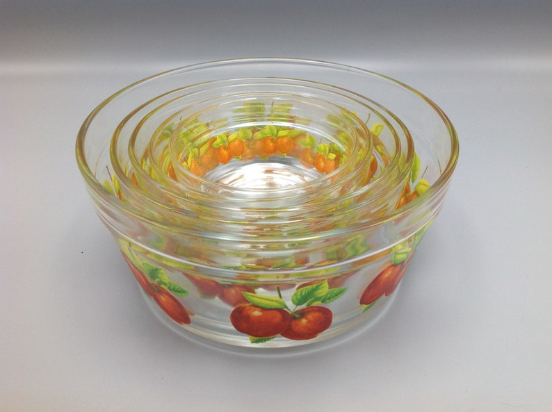 Vintage Clear Glass Apple Decals Five Nesting Bowls Mid Century